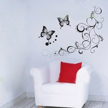 Free Shipping Butterfly Wall Stickers For Home TV Background Wall Art DIY 60 x 40cm Black 30(China (Mainland))