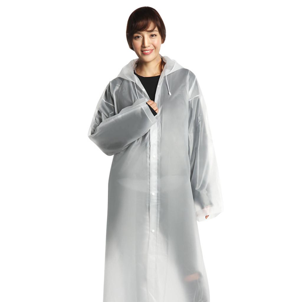 Women Men Waterproof Jacket Clear PEVA Rain Coat Hooded Poncho Rainwear New wer