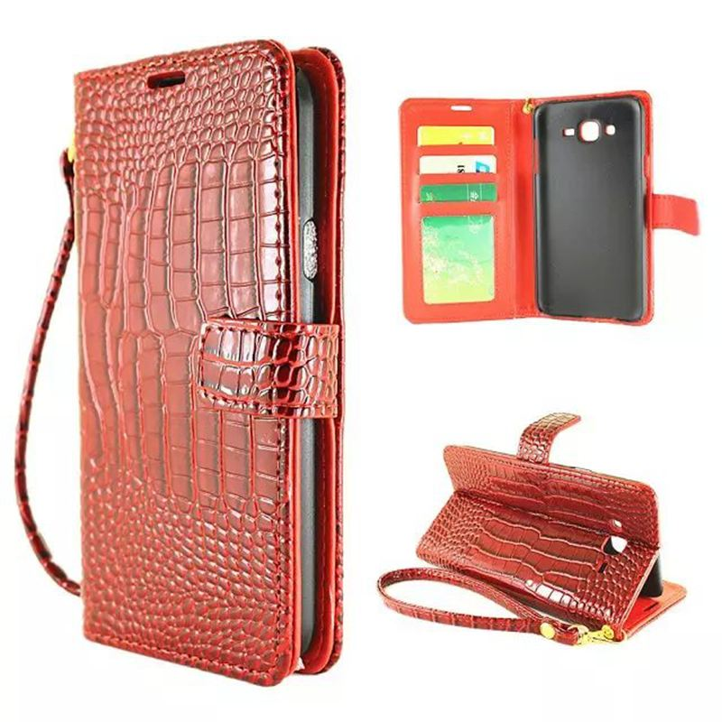 Luxury Wallet Case For Samsung Galaxy J5 J500 J5 2016 J510 J510F Flip Cover Pouch Croc PU Leather Hand Strap Phone Bags Cases(China (Mainland))