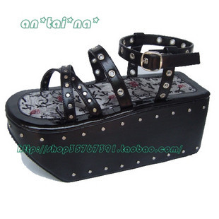 Princess sweet lolita gothic shoes custom cos punk rivet sandals 9115 black