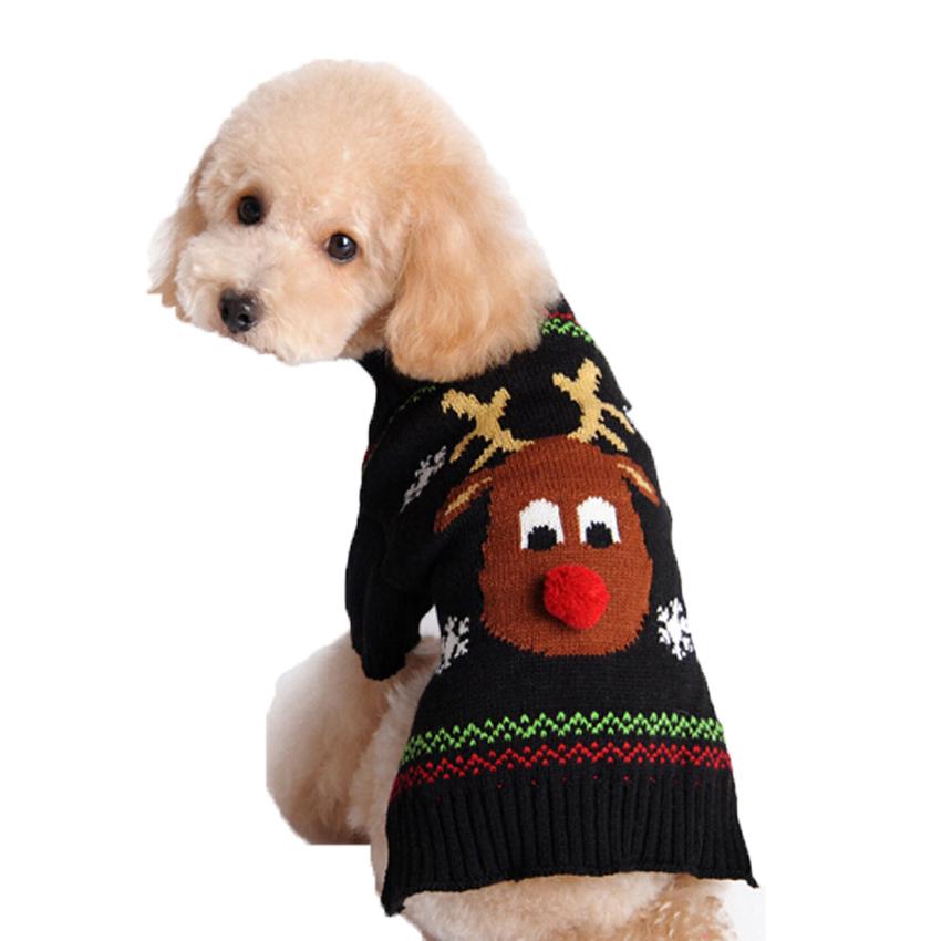 Elk Pattern warm knitting crochet Dog Sweater Christmas Pet clothes Xmas Reindeer Design pet sweater for winter autumn 2017 New(China (Mainland))