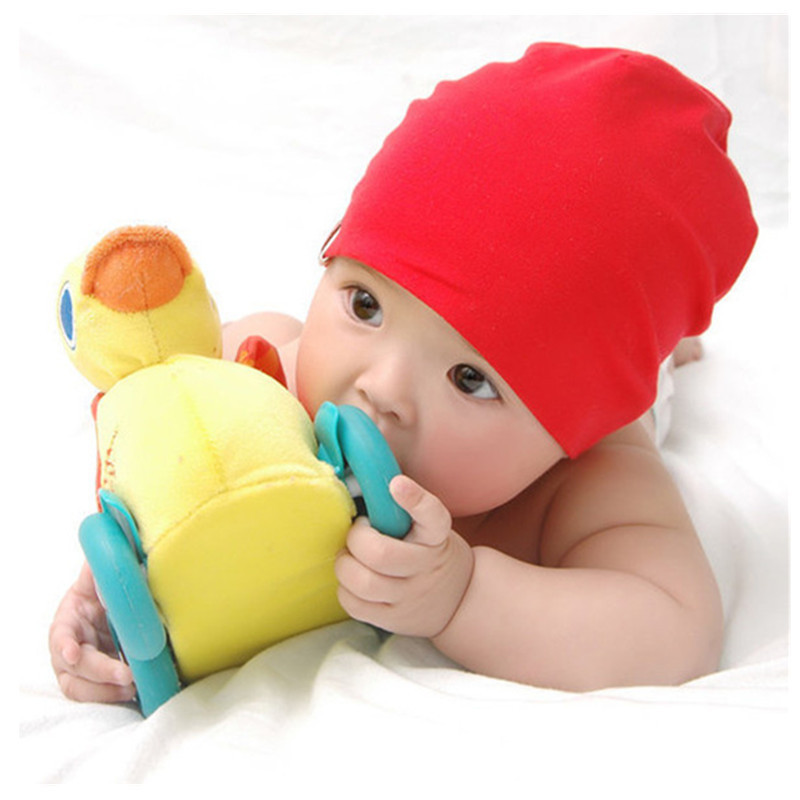 Wholesale Baby Girls Boys Cotton Beanies Toddler Infant Warm Solid Hat Newborn Kids Soft Knit Breathable Cap 15 Colors(China (Mainland))