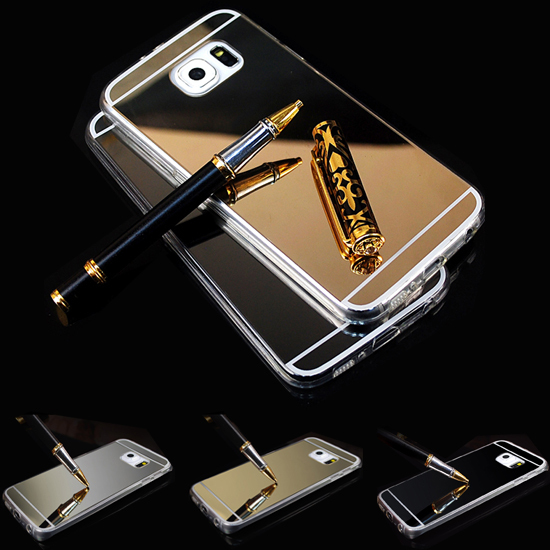 S6 S6 Edge Case Mirror Metal Aluminum+Clear Silicon TPU Phone Case For Samsung Galaxy S6 S6 Edge Case Luxury Ultra Thin Cover(China (Mainland))