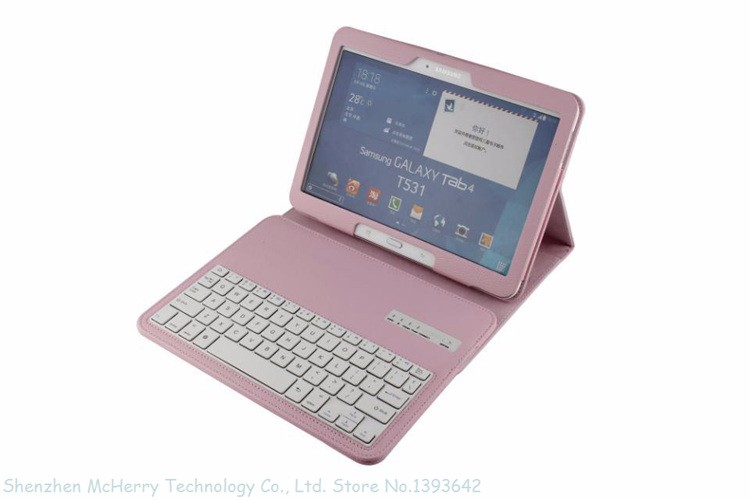 Removable Magnet Wireless Bluetooth Keyboard Stand Case Cover For Samsung Galaxy Tab4 Tab 4 10.1″ 10″ T530 T531 White Brown Pink