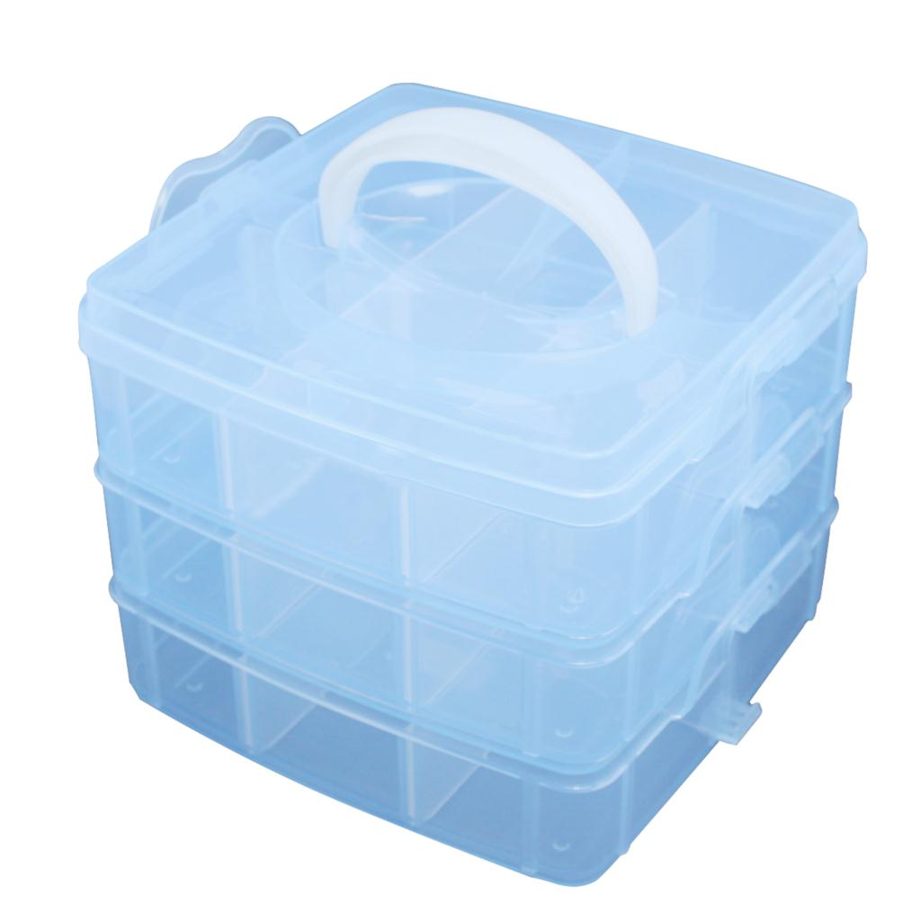 Blue Plastic Empty 3 layer Storage Case Box Nail Art Craft Makeup(China (Mainland))