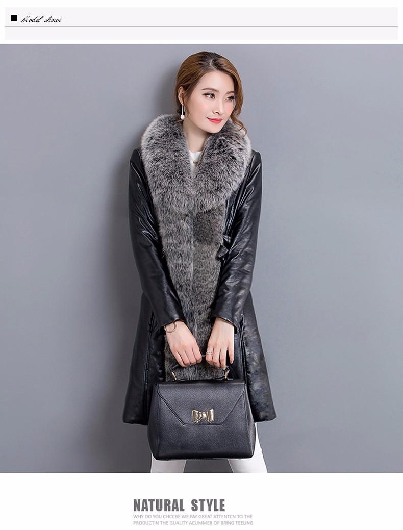 Latest High-grade Women Long PU Down Coat 2016 Winter Fall Fashion Casual Warm Big Slim Fur Collar Warm Coats B80009