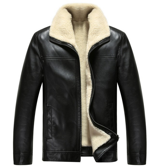 2014 New Listing Menu0026#39;s Luxury Fur Sheep Leather Jacket Wool Warm Casual Leather Coat For Male ...