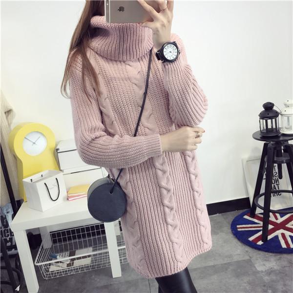 2016 Autumn Winter New Fashion Women's Elegant Medium-long Turtleneck Knitted Wool Sweaters Full Loose Casual Female Cardigans(China (Mainland))