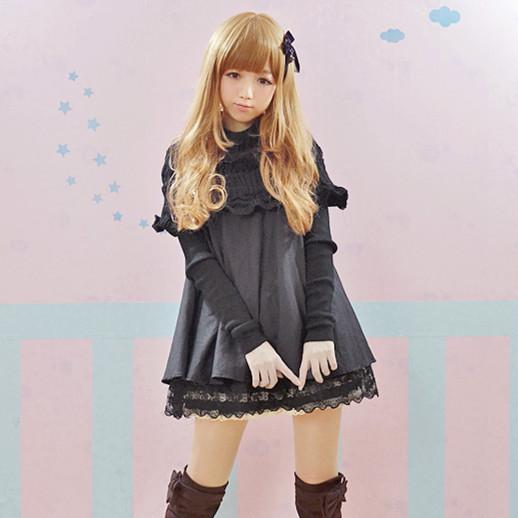 Double layer sweater collar lace black fluffy doll dress Patchwork Knitting one piece dress lolita sweet dress Free shipping(China (Mainland))