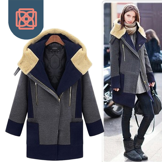 Толстовка Лоскутное толщиной женская искусственного кашемировые пальто зимняя куртка винтаж М-5XL