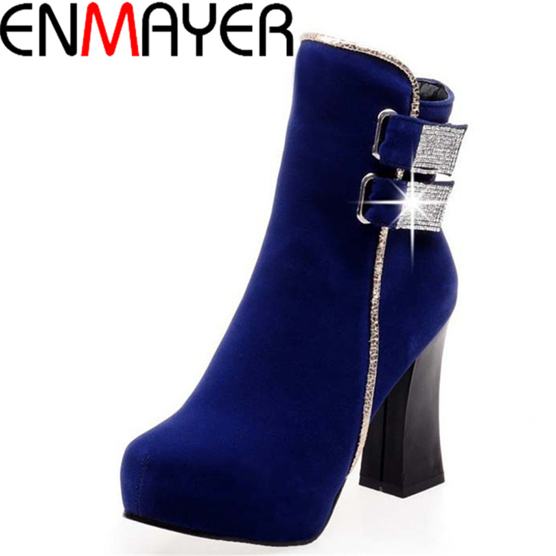ENMAYER Flock warm Cozy snow boots big size34-43 Ankle Round Toe Square heel High boots girls winter wedding platform boots<br><br>Aliexpress
