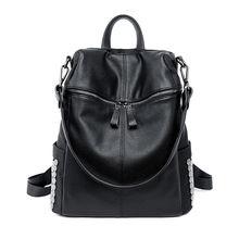 Buy New European Style Women Rivet Backpacks Casual Nylon Pu Leather Back Pack Big Girl School Book Shoulder Bag Teenager for $35.16 in AliExpress store