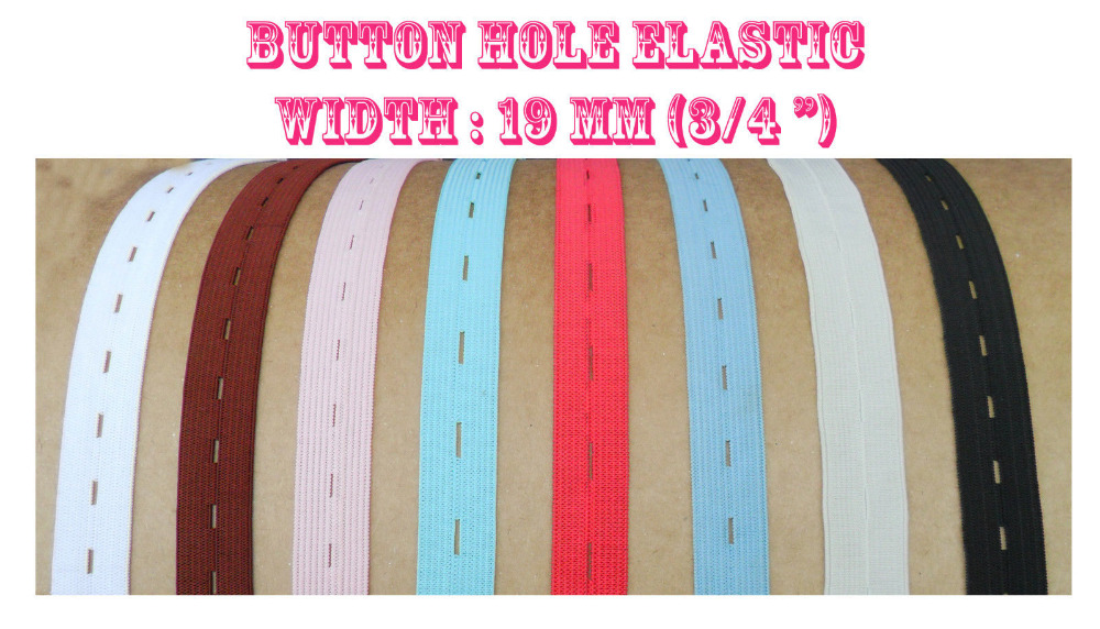 "Express Free Shipping 3/4"" Wide color Button hole Elastic Adjustable Cloth for dress sewing x 500Meters(China (Mainland))"