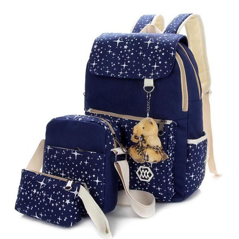 Korean casual women bookbags canvas printing backpack sets cute school bags backpacks for teenage girls shoulder bag LS143<br><br>Aliexpress