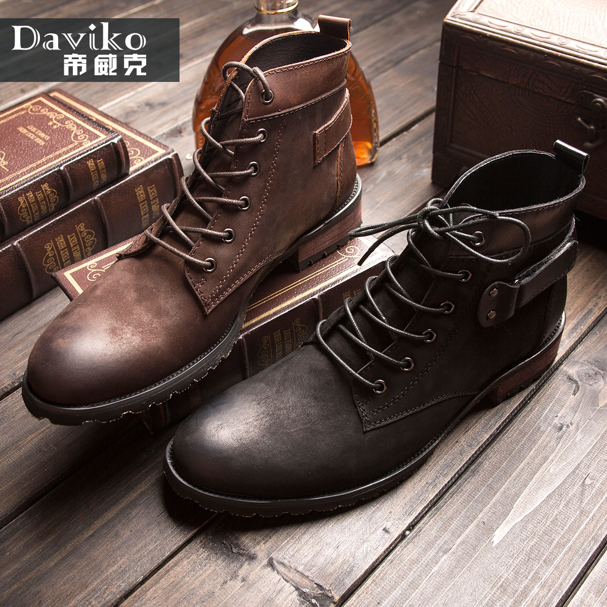 Free Shipping Stanwick Male Boots Trend Genuine Leather Boots Male