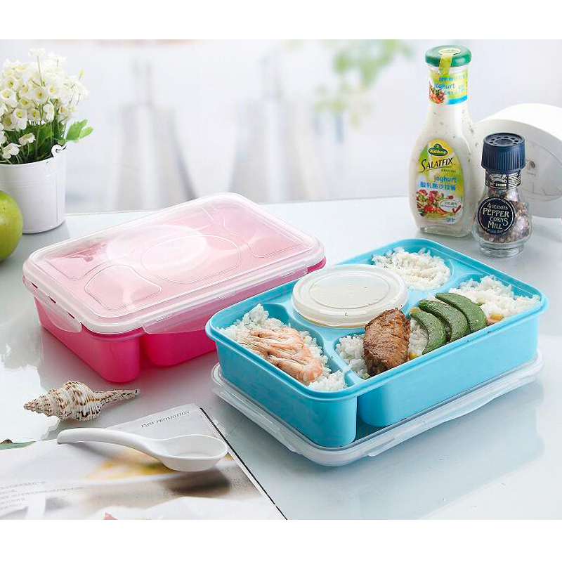4 compartment plastic japanese bento lunch box set food container tableware kitchen dinnerware. Black Bedroom Furniture Sets. Home Design Ideas