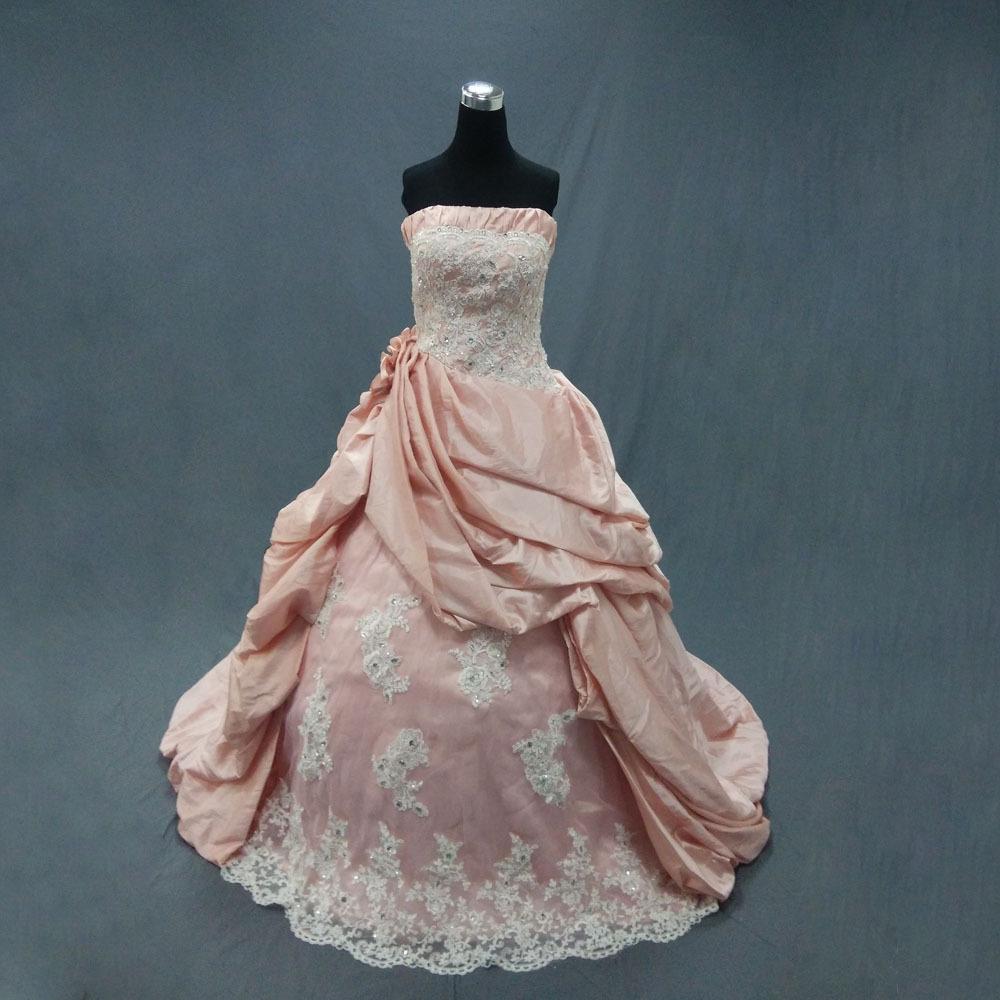 Best Seller Ball Gown Strapless Backless Taffeta Applique Pink Wedding Dress 2013 In Wedding
