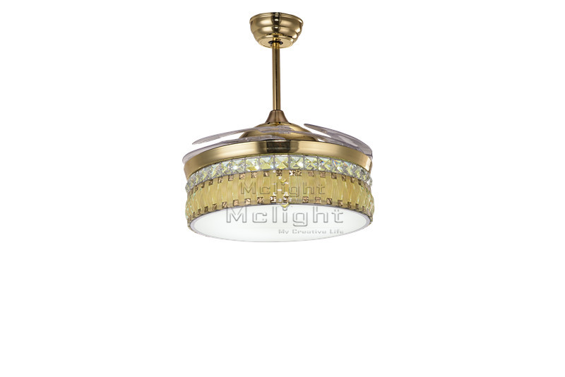 LED Luxury Gold Crystal Ceiling Fans With Light And Remote
