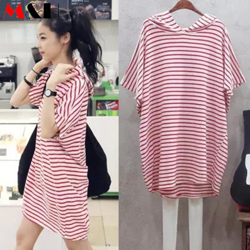 Summer Dress 2016 Loose Striped Batwing Dress Casual Big Size T Shirt Dress Plus Size Hoodie Dresses Women Cheap Clothes China(China (Mainland))