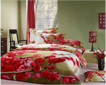 4 pieces Plum flower bedding sets with reactive printing(including duvet cover bedding sheet and pillow case)100% cotton(China (Mainland))