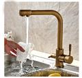 Luxury Antique Brass Kitchen Faucet Hot Cold Vessel Mixer Tap Pure Water Spout Vanity Faucet