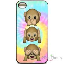 For iphone 4/4s 5/5s 5c SE 6/6s plus ipod touch 4/5/6 back skins mobile cellphone cases cover Emoji monkey Tie Dye cute Emojis