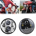 LED Harley Headlight Kit 5 75 Inch Round Headlamp LED Auxiliary Lamps DRL High Low Beam