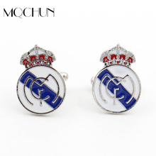 Buy New Design Spain Football Club Cufflinks Mens Crown Shirt Brand Cuff Buttons Top Grade Fashion Enamel Cuff Links for $1.40 in AliExpress store