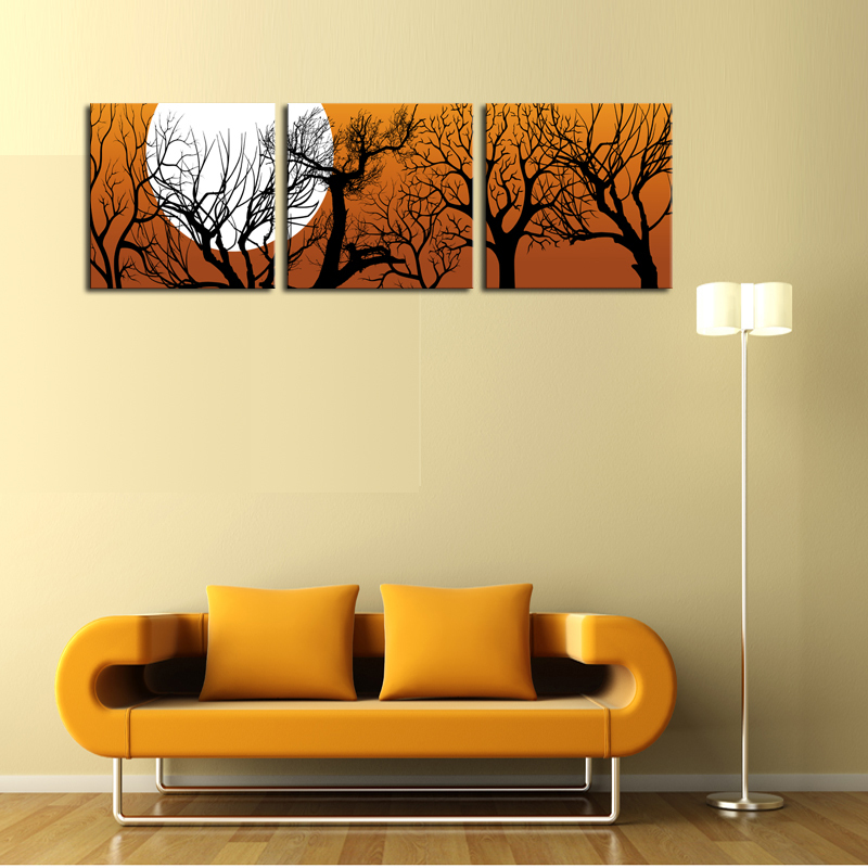 unframed 3 sets canvas painting moon and trees art cheap picture home decor on canvas modern. Black Bedroom Furniture Sets. Home Design Ideas