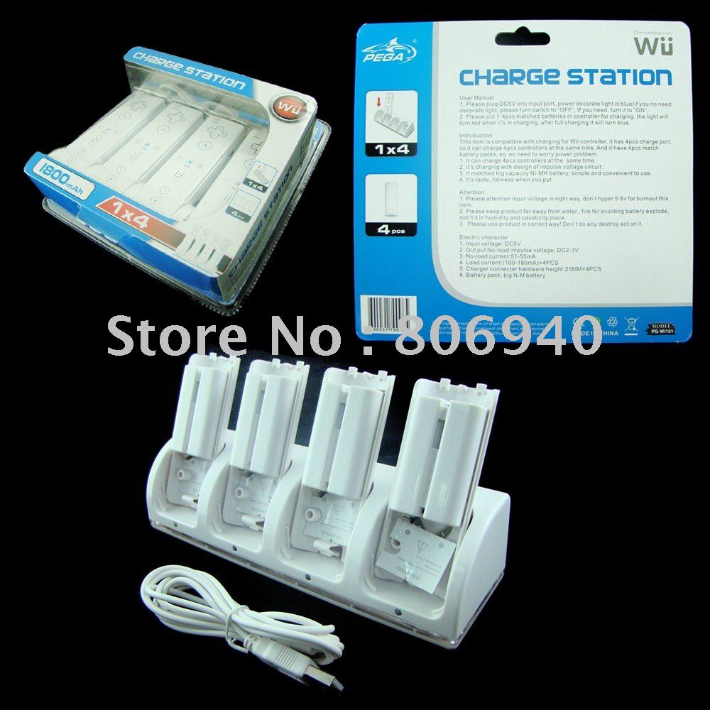 Free shipping 5pcs/lot 1X4 1800mAh Blue ray Charger Station with 4 batteries for Wi(China (Mainland))