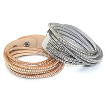 Fashion 6 Layers Wrap Bracelets Charm Leather Bracelets With Rhinestone Lover' Jewelry