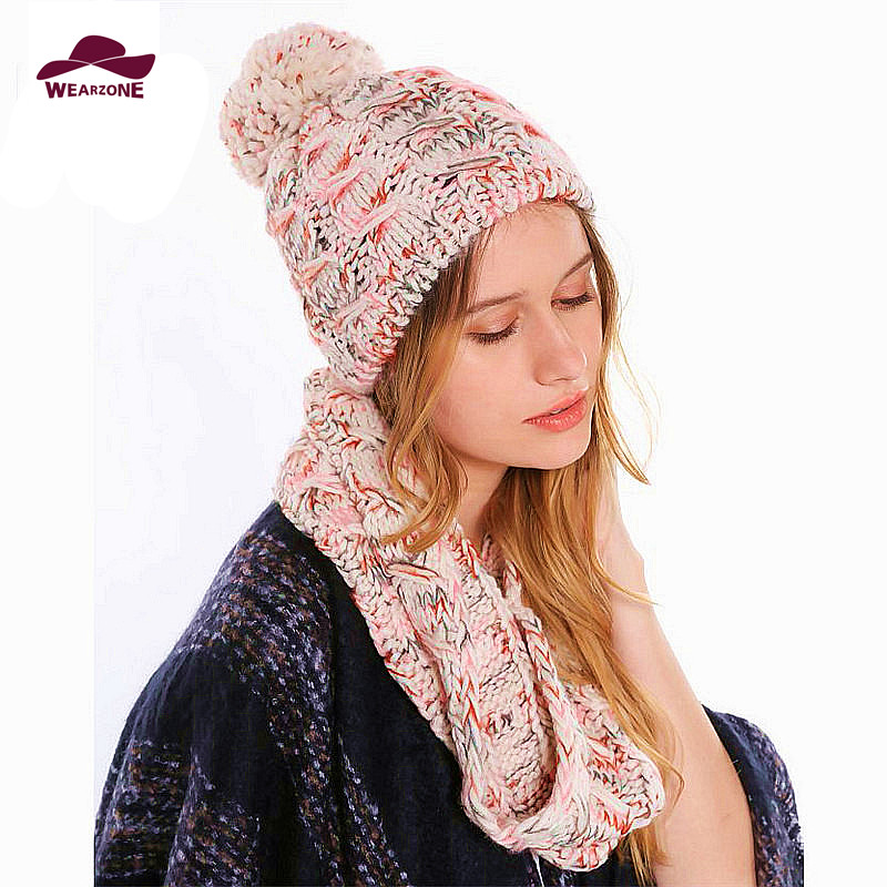 Winter Hat and Scarf Set for women warmer thicken knitted burderry Ring scarves and knitting Hat Set Girls scarf wrap hat sets(China (Mainland))