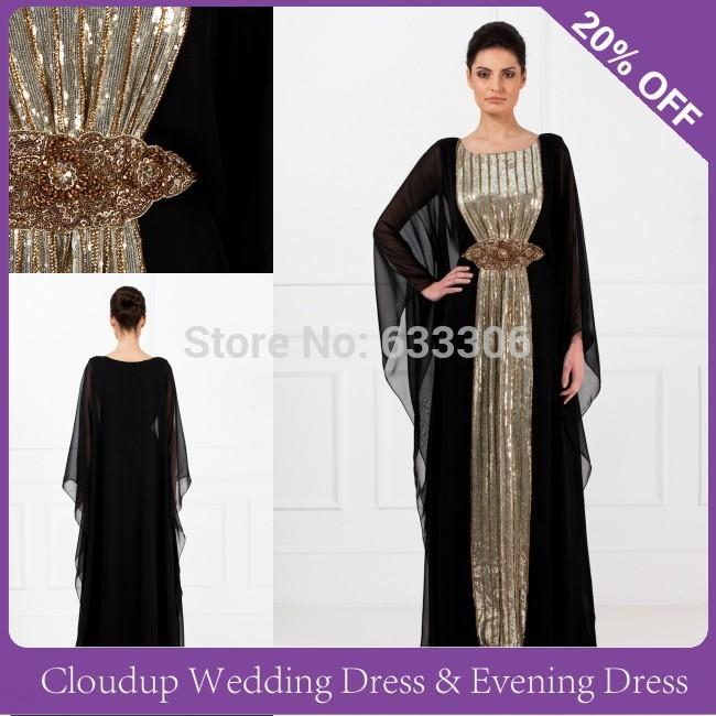 Black Gold Beads Chiffon Abayas arabic dubai Muslim Kaftan Dresses Vestidos De Festa - Cloudup store