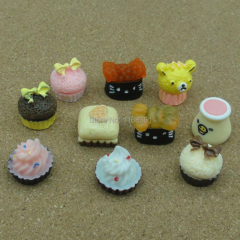 10pcs/lot resin bear cat cartoon shape cake mix size Cabochons Scrapbooking Hair Bow Center Card Frame Making Craft DIY(China (Mainland))