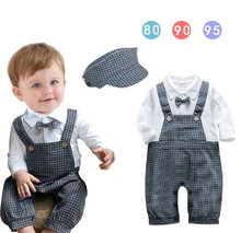 New 2016 Baby Boys Romper Boy Jumpsuits Children's Clothes Kids Clothing Infant Boys Gentleman Tie Romper 3sets/lot Hot Sale (China (Mainland))