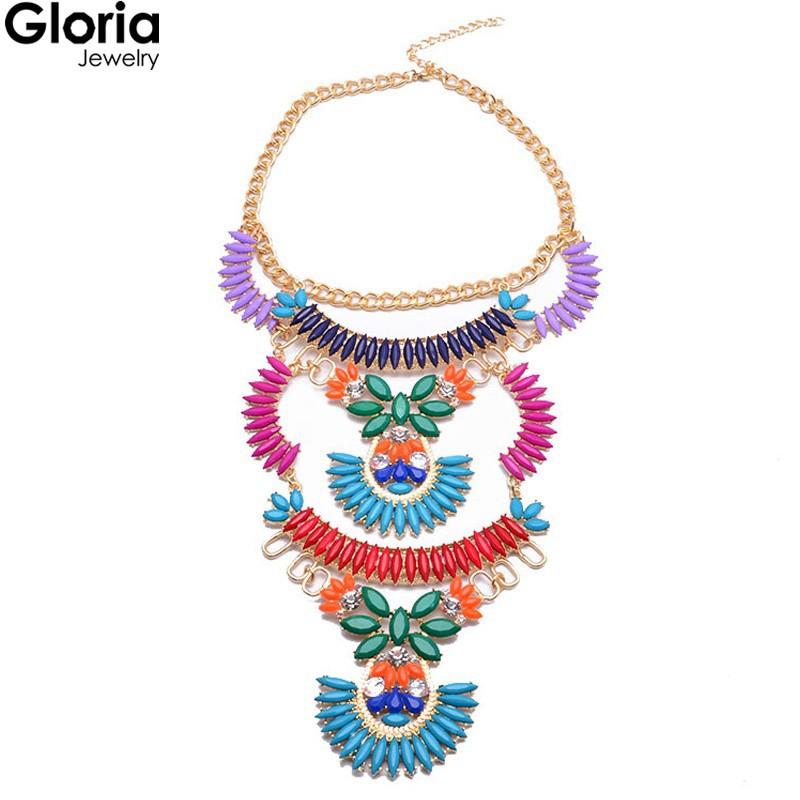 Глория лето женщины ювелирные изделия кристалл colorful цветок много слой полые себе кулон ожерелье 8248