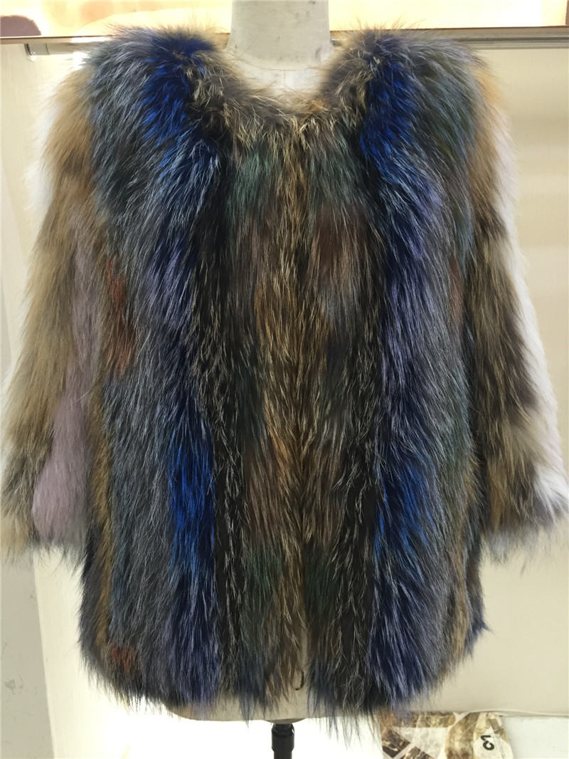 Raccoon fur Coat Knitted fur Jacket for Women Winter Raccoon fur(China (Mainland))