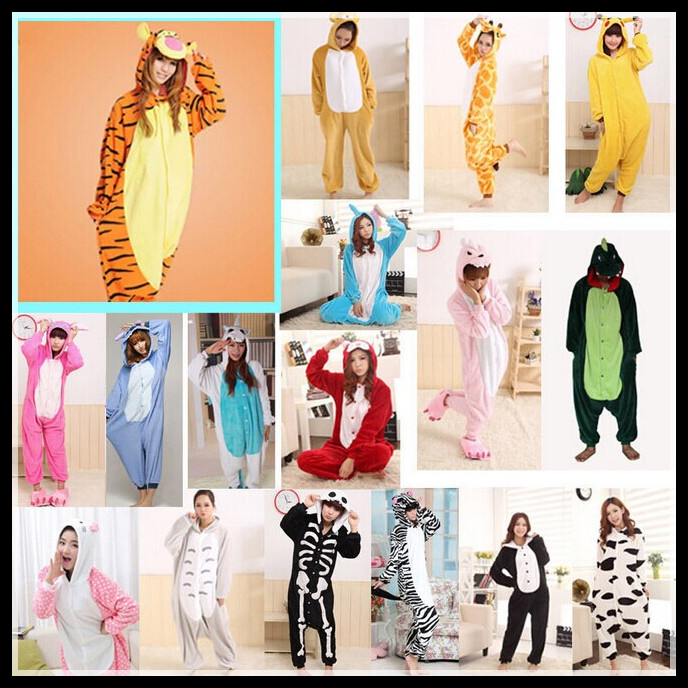 2015 Adults Flannel Pajamas All in One Pyjama Animal Suits Cosplay Adult Winter Garment Cute Cartoon Animal Onesies Pajama Sets(China (Mainland))