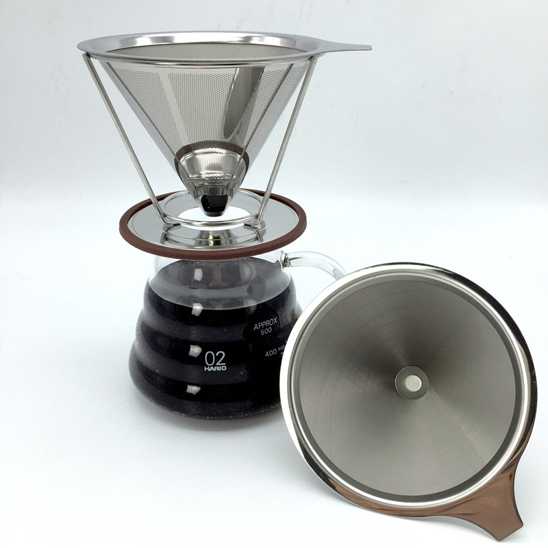 Portable stainless steel coffee filters / reusable V-type filter cup filter cone filter drip coffee maker tool sets(China (Mainland))