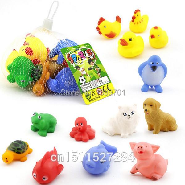 1Set/13pcs Hot Sales 13 Mixed Different Animal Bath Toy Baby Bath Washing Sets Children Educational Water Toys(China (Mainland))