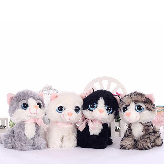 19 СМ Малый Kawaii БОЛЬШИЕ ГЛАЗА ПЛЮШЕВЫЕ КОШКИ Мягкие игрушки Серый белый Черный Коричневый Котенок Мягкие Игрушки для Детей детские Подарки 120106548