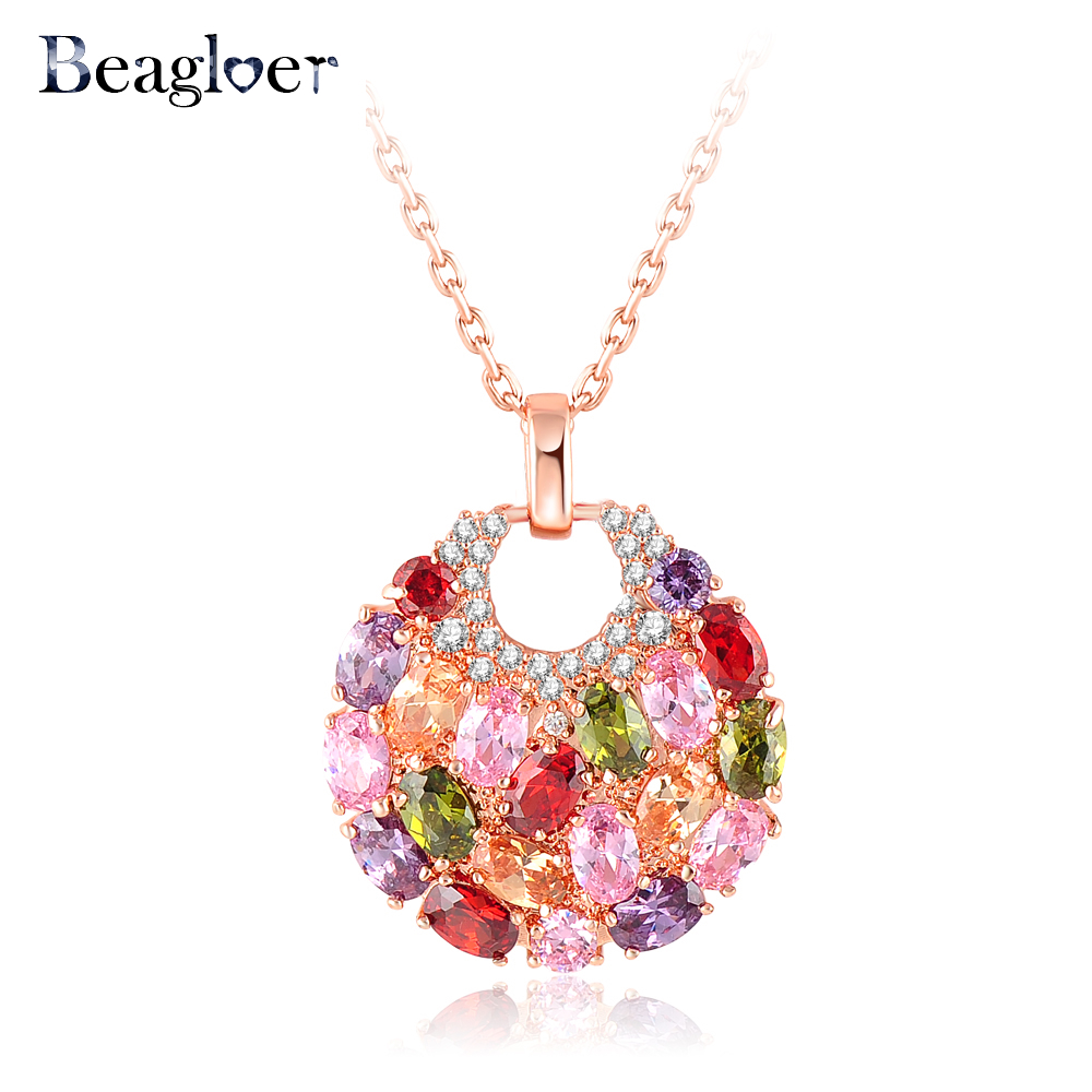 Beagloer Brand Trendy Round Shaped Pendant Necklace Rose Gold Plated Multicolor Cubic Zirconia Inlay Female Necklace CNL0008-A(China (Mainland))
