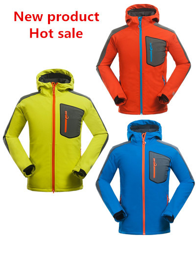 2015 New Style Softshell Fleece Jacket Spring Camping Hiking Coat Men Outdoor Waterproof Windproof Breathable Sports Clothing