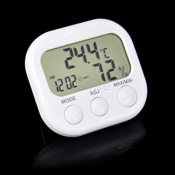 Indoor Digital Thermometer Hygrometer Clock KS-005 White Dropshipping 25(China (Mainland))