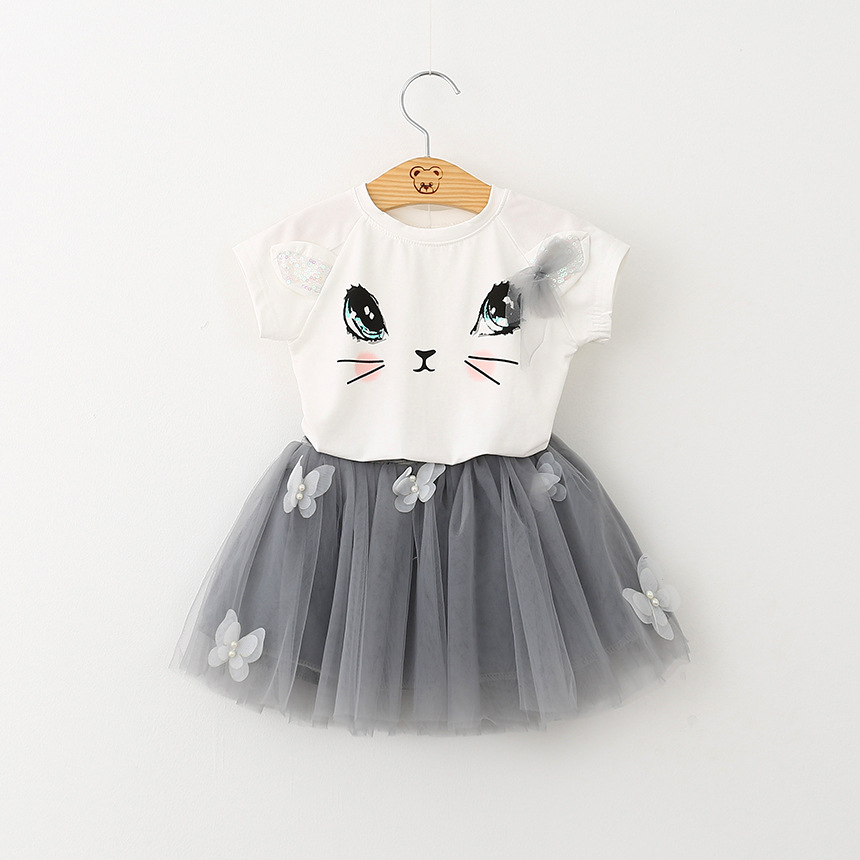 wholesale 2pcs/set 2016 new arrive girls boutique clothing lovely sequin cat ear with tulle skirt clothing set 5sets/lot(China (Mainland))