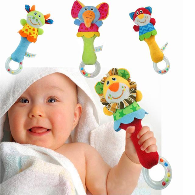 22 СМ Развивающие Животных Мягкая Младенческой Ребенок Плюшевые Игрушки Погремушки Детские Плюшевые Игрушки Животных