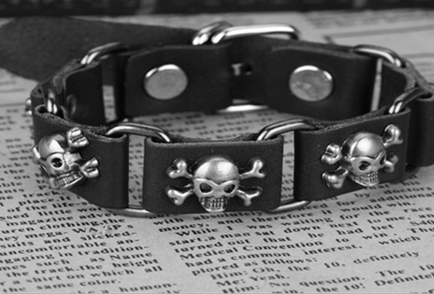 Fashion trend punk silver skull rivet handmade pu leather bracelet B3311 - Hello Kitty Jewelry Mall store