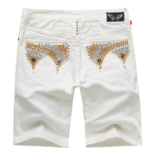2015 New White Robin Jeans Shorts Men Fashion Designer Famous Brand Robins Jean Shorts for Men Denim Jeans Plus Size 38 40 42(China (Mainland))