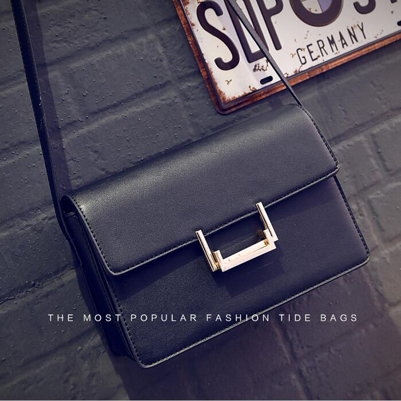 2016 Women PU Leather Small Messenger Bags Leather Flap Bag Small Women Messenger Bag Metal Corssbody Bag For Female<br><br>Aliexpress