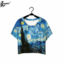 Buy Lei-SAGLY World Famous Oil Painting Women Clothes 2017 Summer O-neck T shirts Short Sleeve Crop Tops Punk Harajuku T-shirts F978 for $3.57 in AliExpress store